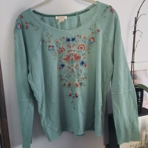 Sundance Embroidered Floral Green Size Small EUC